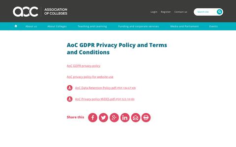 Screenshot of Privacy Page aoc.co.uk - AoC GDPR Privacy Policy and Terms and Conditions | Association of Colleges - captured Sept. 23, 2018