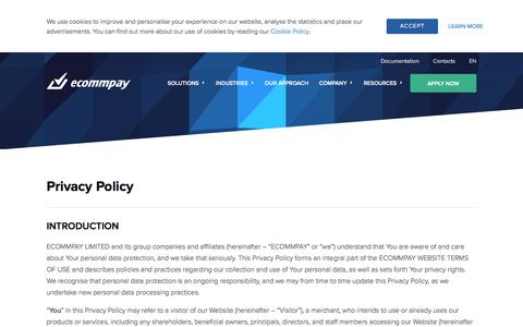 Screenshot of Privacy Page ecommpay.com - Privacy Policy | ECOMMPAY - captured Nov. 10, 2019