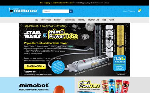 Screenshot of Home Page mimoco.com - Mimoco: Makers of the Coolest Designer USB Flash Drives - captured Oct. 1, 2015