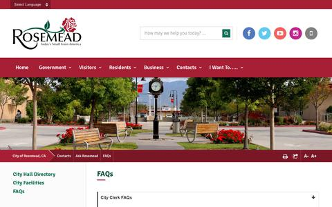 Screenshot of FAQ Page cityofrosemead.org - FAQs - City of Rosemead, CA - captured July 18, 2018