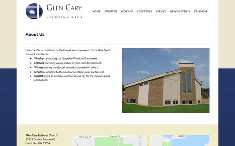 Screenshot of About Page glencary.org - About Us - Glen Cary Lutheran Church - Ham Lake, MN - captured Sept. 28, 2018