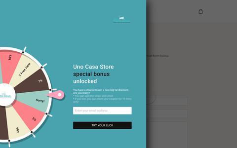 Screenshot of Contact Page unocasa.com - Contact Us – Uno Casa Store - captured Oct. 20, 2018
