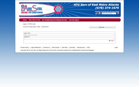 Screenshot of Login Page aireserv.com - Local HVAC Company in Covington | Aire Serv of East Metro Atlanta - captured Sept. 19, 2014