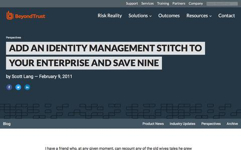 Screenshot of Team Page beyondtrust.com - Add an Identity Management Stitch to Your Enterprise and Save Nine | BeyondTrust - captured Jan. 3, 2020