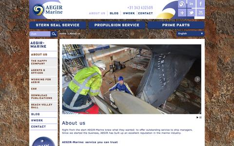 Screenshot of About Page aegirmarine.com - AEGIR-Marine: service you can trust - captured Feb. 5, 2016