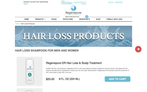 Screenshot of Products Page regenepure.com - Buy Best Shampoos for Hair Loss and Hair Growth for Men & Women - captured Nov. 23, 2015