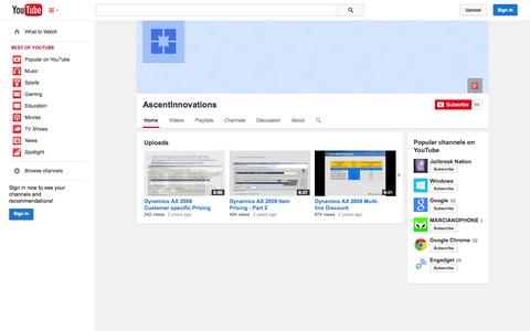 Screenshot of YouTube Page youtube.com - AscentInnovations  - YouTube - captured Oct. 23, 2014