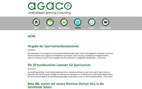 Screenshot of Press Page agaco.de - AGACO NEWS | ALVENSLEBEN GAMING CONSULTING - captured Sept. 30, 2014