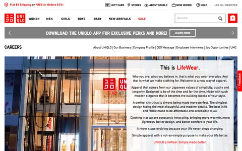 Screenshot of Jobs Page uniqlo.com - UNIQLO Careers | UNIQLO US - captured July 18, 2018