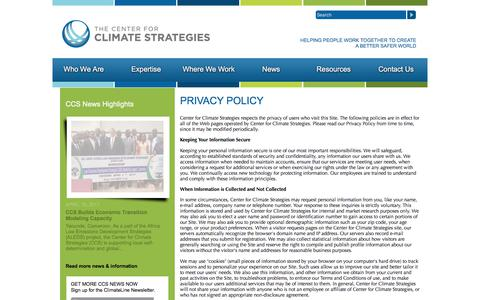 Screenshot of Privacy Page climatestrategies.us - Center for Climate Strategies - Privacy - captured July 20, 2017