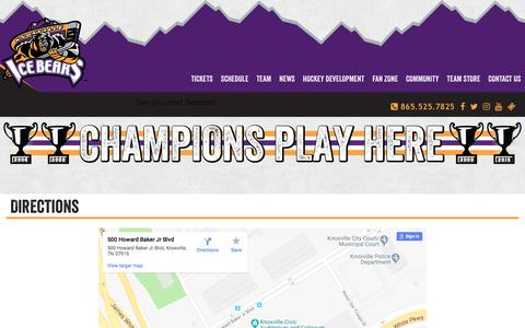 Screenshot of Maps & Directions Page knoxvilleicebears.com - Knoxville Ice Bears: Directions - captured Sept. 20, 2018