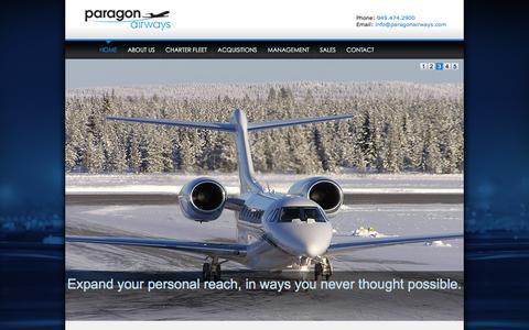 Screenshot of Home Page paragonairways.com - Paragon Airways | Private Jet Charter - John Wayne Airport - captured Dec. 7, 2015