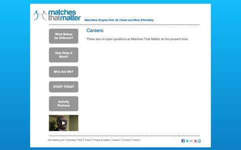 Screenshot of Jobs Page matchesthatmatter.com - Matches That Matter - captured Jan. 9, 2016