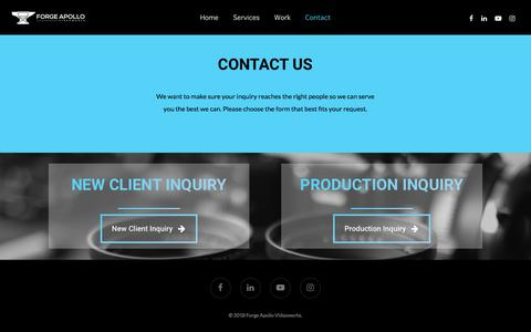 Screenshot of Contact Page forgeapollo.com - Video Content and Distribution Contact Form – Forge Apollo Videoworks - captured Aug. 19, 2018