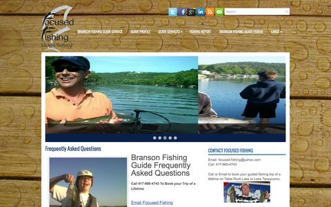 Screenshot of FAQ Page focusedfishing.com - Frequently Asked Questions | Branson Fishing Guide Service - captured March 5, 2016
