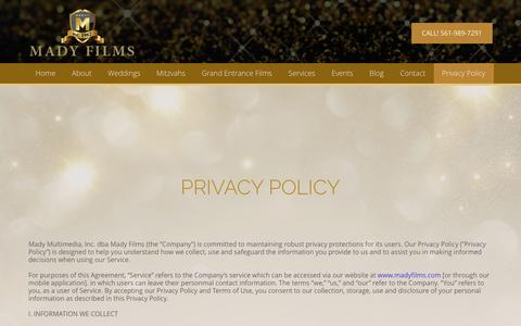 Screenshot of Privacy Page madyfilms.com captured May 27, 2017