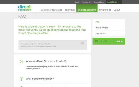Screenshot of FAQ Page directcommerce.com - FAQ | Direct Commerce - captured Sept. 25, 2014