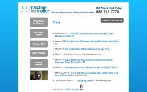 Screenshot of Press Page matchesthatmatter.com - Matches That Matter - captured Oct. 27, 2014