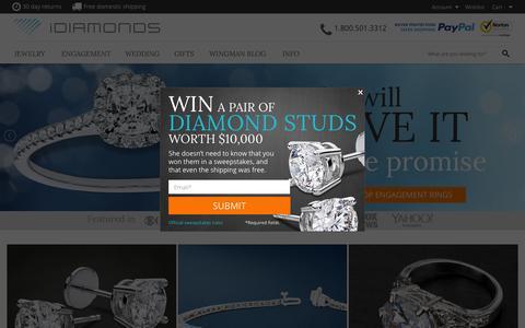 Screenshot of Home Page idiamonds.com - iDiamonds: It's Easy to Buy Her Diamond Jewelry - captured Jan. 9, 2016