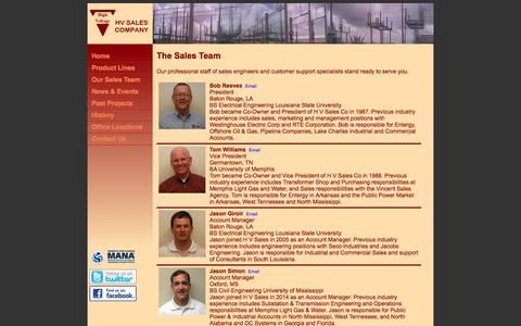 Screenshot of Team Page hvsales.com - HV Sales Company | Sales Team - captured July 11, 2017