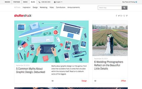 Screenshot of Blog shutterstock.com - The Shutterstock Blog - The official blog of the world's largest royalty-free image subscription site. - captured Sept. 30, 2015