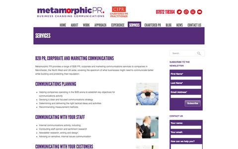 Screenshot of Services Page metamorphicpr.co.uk - B2B PR, Corporate & Marketing Communications Consultancy | Metamorphic PR - captured Oct. 27, 2014
