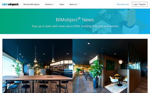 Screenshot of Press Page bimobject.com - BIMobject® News - captured Sept. 10, 2019