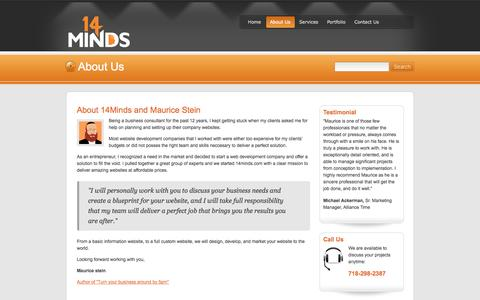Screenshot of About Page 14minds.com - 14Minds | About Us - captured Oct. 27, 2014