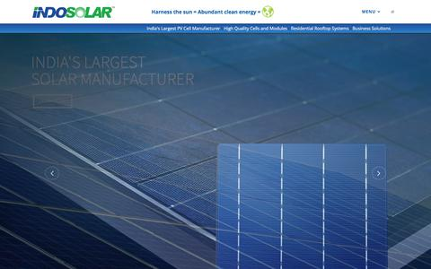 Screenshot of Home Page Menu Page indosolar.co.in - Welcome to Official Website of IndoSolar - India's Largest PV Cell Manufacturer - captured Oct. 2, 2017
