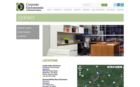 Screenshot of Locations Page ceg-pa.com - Corporate Environments - captured Oct. 3, 2014