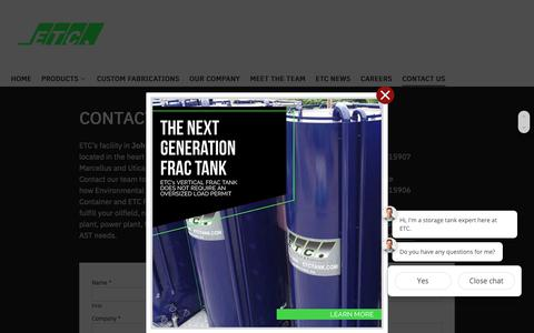 Screenshot of Contact Page etctank.com - Contact Us - Environmental Tank and Container - captured Nov. 10, 2018