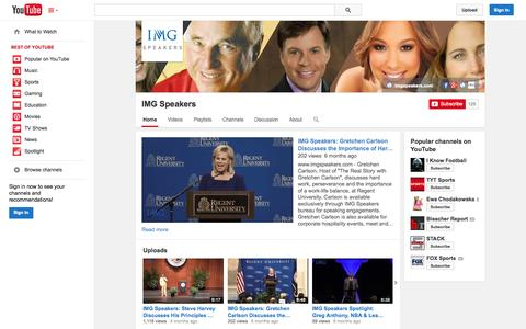 Screenshot of YouTube Page youtube.com - IMG Speakers  - YouTube - captured Oct. 29, 2014