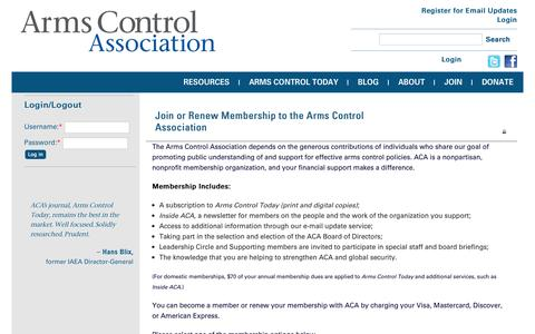 Screenshot of Signup Page armscontrol.org - Join or Renew Membership to the Arms Control Association | Arms Control Association - captured Oct. 30, 2014