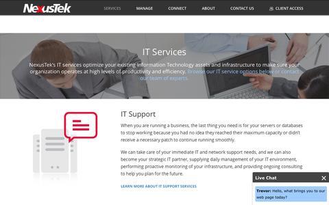 Screenshot of Services Page nexustek.com - IT Services In Denver, Colorado   303-773-6464   NexusTek - captured Nov. 16, 2016