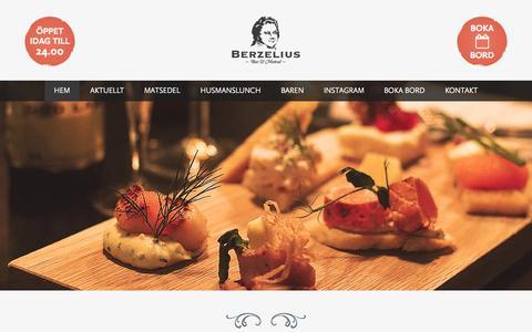 Screenshot of Home Page berzeliusbar.se - Berzelius Bar & Matsal - captured Sept. 10, 2015