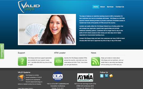 Screenshot of Home Page validpays.com - ATM Loan Payout - VALIDpays — ATM Loan Payout - captured Sept. 30, 2014
