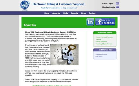 Screenshot of About Page ebcs-solutions.com - Solutions | Electronic Billing | Collection Services, Veterinary Payment Plans, Cash Flow Management, Equine Billing Services, Veterinarian Billing Services, Recurring Billing Services - captured Oct. 2, 2014