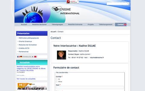 Screenshot of Contact Page erasme-international.eu - Contact   erasme-international.eu - captured May 21, 2016