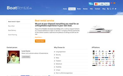 Screenshot of Services Page boatrental.es - Boat rental services - captured Oct. 5, 2014