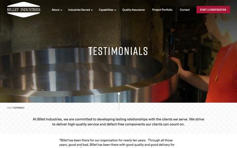 Screenshot of Testimonials Page billet-industries.com - Testimonials - Billet Industries - captured Oct. 5, 2018