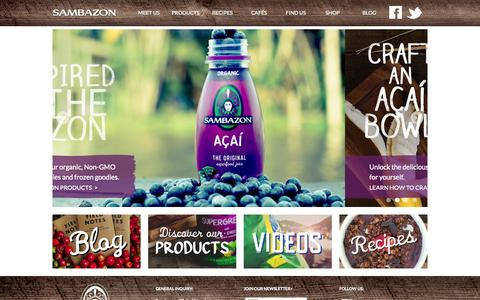 Screenshot of Home Page sambazon.com - Acai | Organic Juices | Superfoods | Sambazon Smoothies - captured Sept. 17, 2014