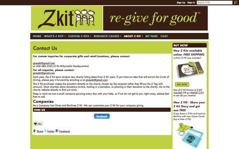 Screenshot of Contact Page ning.com - Contact Us - Z Kit - captured Sept. 13, 2014
