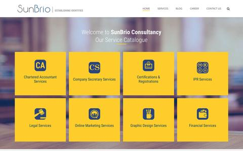 Screenshot of Home Page sunbrio.com - Trademark,Copyright and Company Registration Services in India.| Sunbrio - captured Feb. 16, 2016