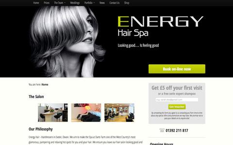 Screenshot of Press Page energyhair.com - Hairdressers in Exeter Hair Salons Stylist Devon - Energy Hair - captured Oct. 2, 2014