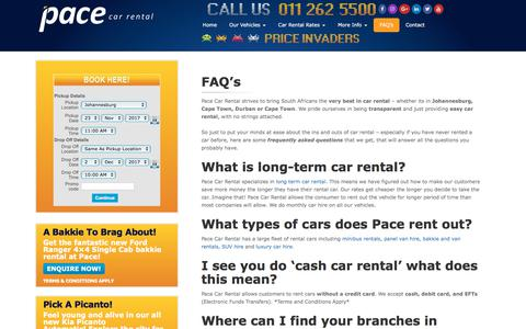 Screenshot of FAQ Page pacecarrental.co.za - FAQ's | Pace Car Rental - captured Nov. 16, 2017