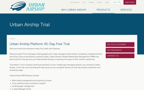 Screenshot of Trial Page urbanairship.com - Urban Airship Trial - captured Oct. 10, 2014