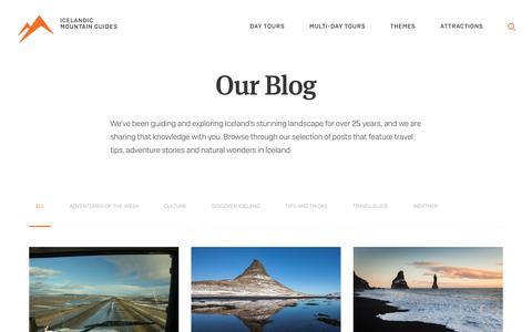Screenshot of Blog mountainguides.is - Iceland Adventure Blog | Icelandic Mountain Guides - captured Oct. 11, 2018