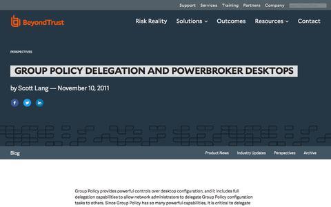 Screenshot of Privacy Page beyondtrust.com - Group Policy Delegation and PowerBroker Desktops | BeyondTrust - captured Dec. 14, 2019