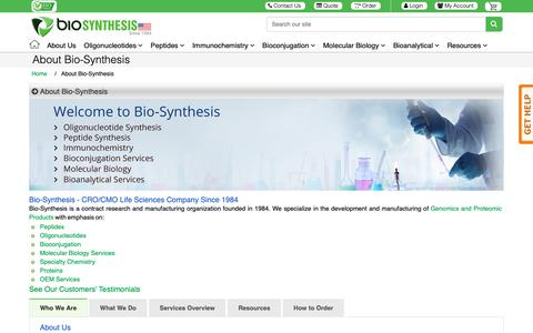 Screenshot of About Page biosyn.com - About Us - Bio-Synthesis - captured Dec. 18, 2018
