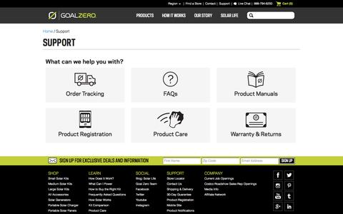 Screenshot of Support Page goalzero.com - Portable Solar Battery Charger | Portable Solar Panels | Off-Grid Solar Generators | Goal Zero - Extreme Portable Power - captured July 3, 2015